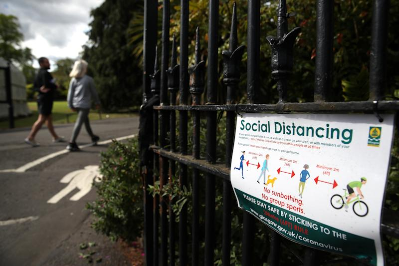 A sign at entrance to the Botanic Gardens in Glasgow as the UK continues in lockdown to help curb the spread of the coronavirus.