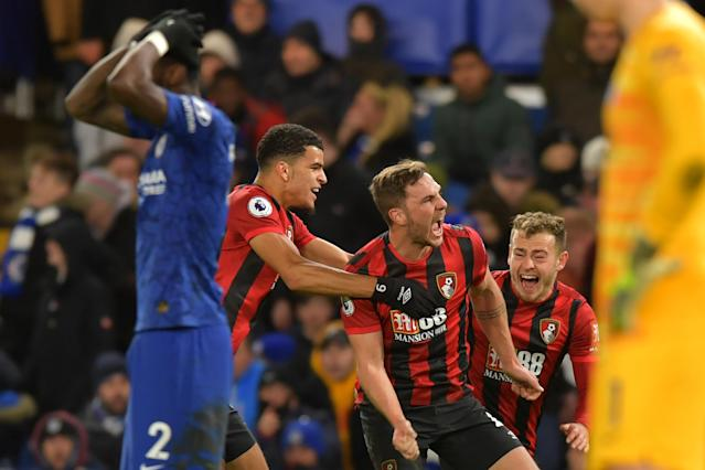 A late goal by Dan Gosling (center) gave Bournemouth a big win over Chelsea. (Olly Greenwood/Getty)
