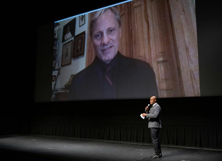 "Actor Viggo Mortensen speaks via video at the 2020 Toronto International Film Festival on September 11, 2020 where he premiered the film ""Falling"""