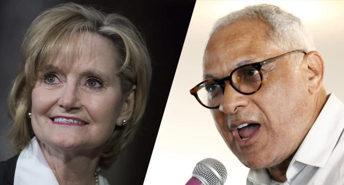 Sen. Cindy Hyde-Smith, R-Miss., and Mike Espy, a former congressman and former U.S. agriculture secretary. (Photos: Tom Williams/CQ Roll Call/Getty Images, Rogelio V. Solis/AP)