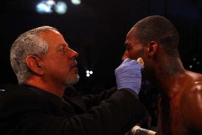 ATLANTIC CITY, NJ - APRIL 28:  Chad Dawson has a cut above his left eye tended to after he was cut by an accidental head butt by Bernard Hopkins during their WBC & Ring Magazine Light Heavyweight Title fight at Boardwalk Hall Arena on April 28, 2012 in Atlantic City, New Jersey.  (Photo by Al Bello/Getty Images)
