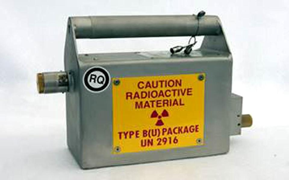 This undated photograph provided by the Secretaria de Gobernacion (Interior Ministry) on April 16, 2015 shows a box for carrying radioactive material (AFP Photo/)