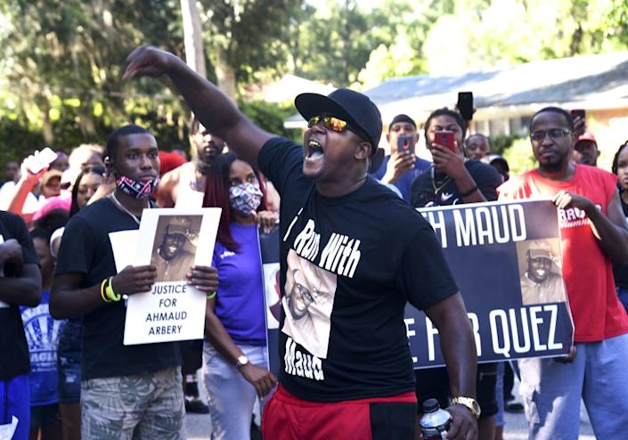 "A protest in Brunswick, Ga., on Tuesday seeking answers in the death of Ahmaud Arbery. <span class=""copyright"">(Bobby Haven / Brunswick News)</span>"