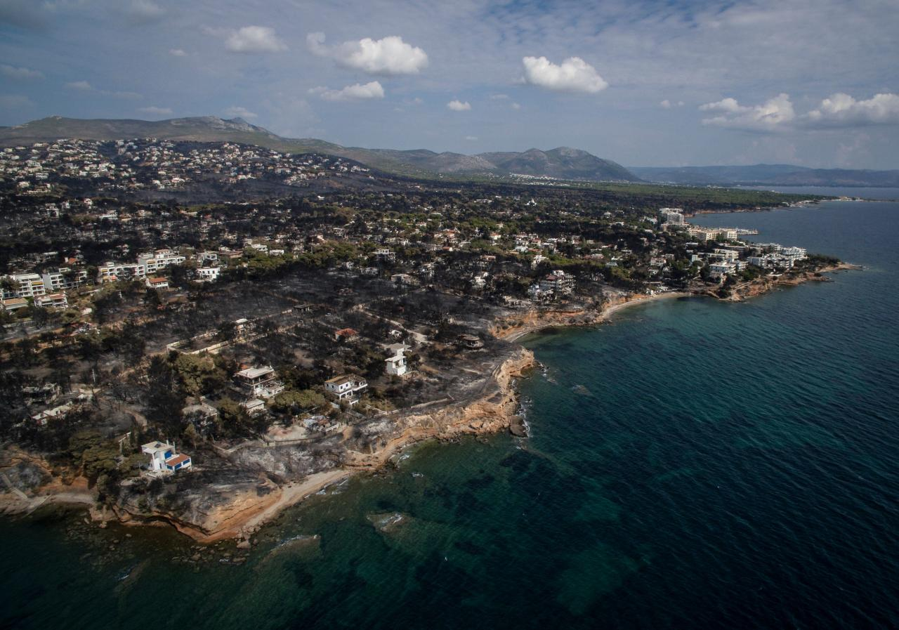 <p>An aerial view shows a burnt area following a wildfire in the village of Mati, near Athens, on July 26, 2018. Greece was counting the cost on July 26 of its deadliest wildfires in living memory, as emergency crews searched incinerated homes and vehicles for the missing after at least 81 people were confirmed to have died. (Photo from Savvas Karmaniolas/AFP/Getty Images) </p>