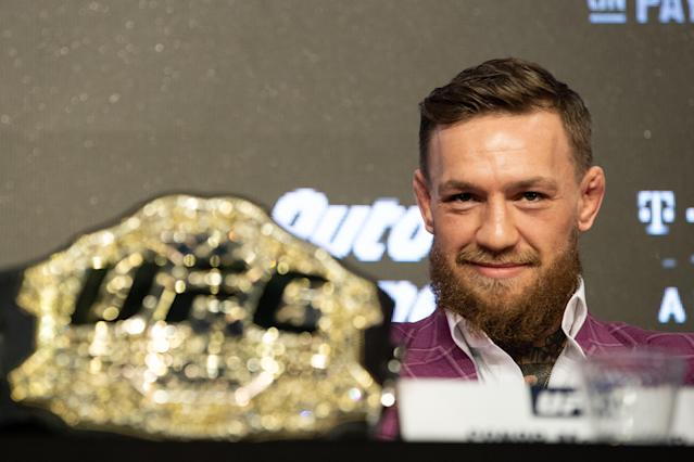 Conor McGregor speaks at the UFC 229 press conference at Radio City Music Hall on September 20, 2018 in New York, NY. (Getty Images)