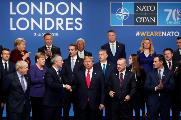 """Despite the rancour, the 29 members managed to agree a """"London Declaration"""" (AFP Photo/Adrian DENNIS)"""