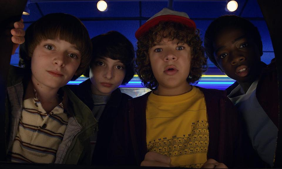 """<p>We already know the boys will be <a href=""""https://uk.movies.yahoo.com/stranger-things-season-3-teaser-013434253.html"""" data-ylk=""""slk:back for season three;outcm:mb_qualified_link;_E:mb_qualified_link;ct:story;"""" class=""""link rapid-noclick-resp yahoo-link"""">back for season three</a>, while Sheriff Hopper's boogie became a viral hit.<br>Photo: Netflix </p>"""
