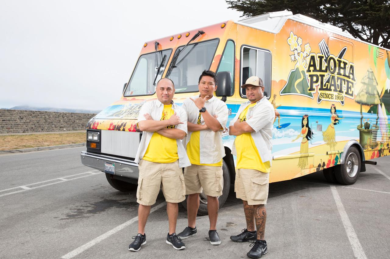 Team Aloha Plate's Adam Tabura, Lanai Tabura and Shawn Felipe as seen on Food Network's The Great Food Truck Race, Season 4.