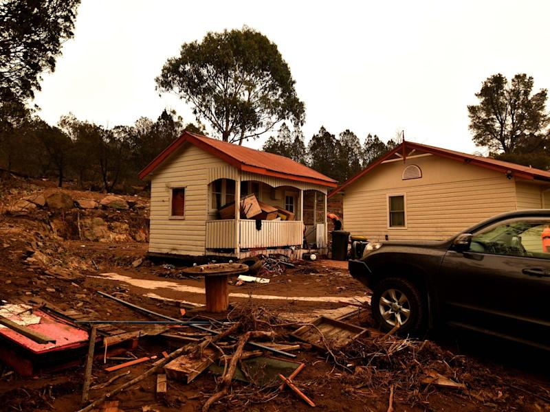 Flood-damaged property is seen in the bushfire-affected town of Cooma: AFP via Getty Images