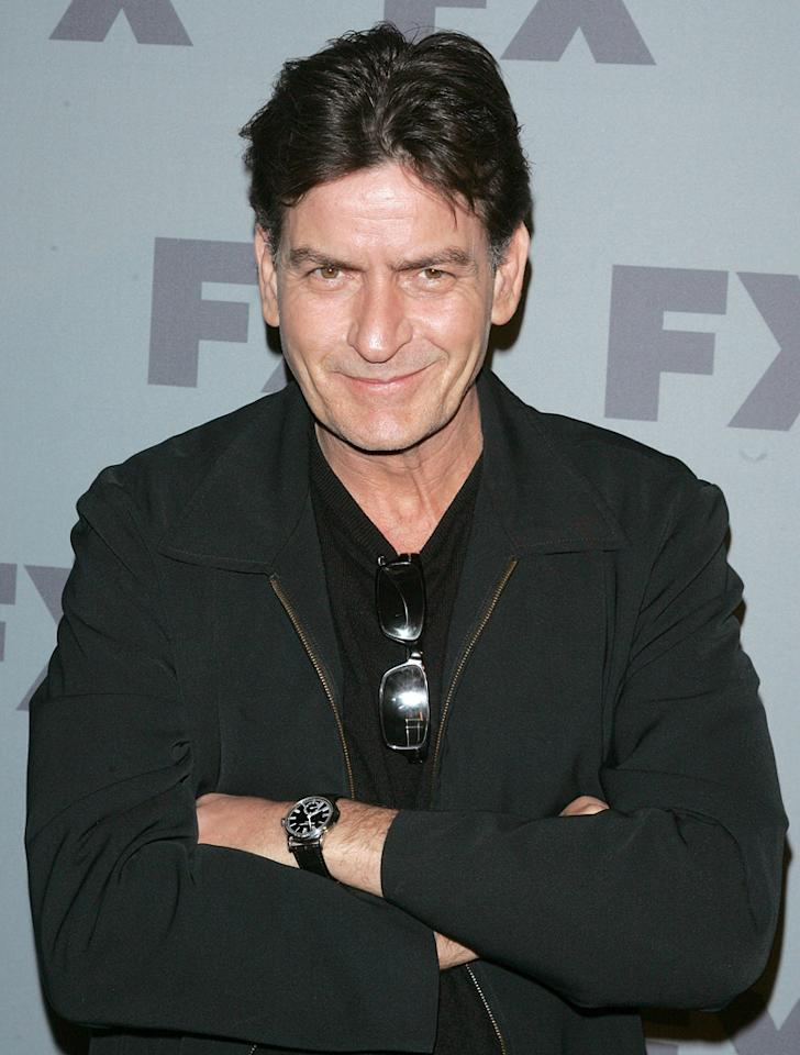 "Charlie Sheen (""<a href=""http://tv.yahoo.com/anger-management/show/48408"">Anger Management</a>"") attends FX's 2012 Upfronts at Lucky Strike on March 29, 2012 in New York City."