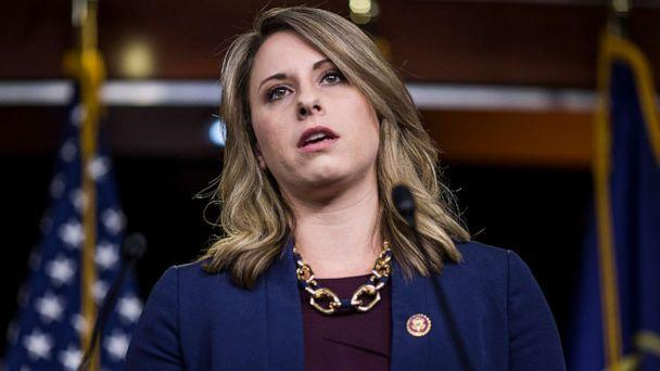 PHOTO: Rep. Katie Hill. D-CA. speaks during a news conference on April 9, 2019 in Washington, D.C. (Zach Gibson/Getty Images, FILE)