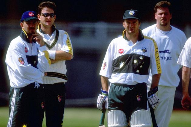 Ricky Ponting, Mark Waugh and Steve Waugh of Australia training in the nets at Lords Cricket Ground in London, England. \ Mandatory Credit: Clive Mason /Allsport