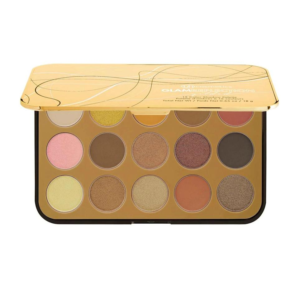 """<p>Makeup artist <a href=""""https://www.instagram.com/allanface/?hl=en"""" rel=""""nofollow"""">Allan Avendaño</a> (whose clients include Camila Cabello, Ashley Graham, and Sabrina Carpenter), is a fan of Internet-favorite brand BH Cosmetics Gilded Glam Reflection Palette(which also happens to be on sale at the moment).</p> <p>$16 (<a href=""""https://www.bhcosmetics.com/products/glam-reflection-15-color-shadow-palette-gilded"""" rel=""""nofollow"""">Shop Now</a>)</p>"""