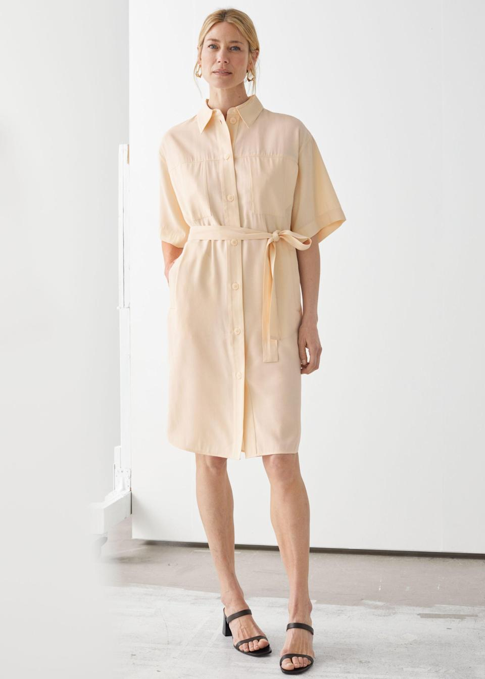 """<br> <br> <strong>& Other Stories</strong> Oversized Midi Shirt Dress, $, available at <a href=""""https://go.skimresources.com/?id=30283X879131&url=https%3A%2F%2Fwww.stories.com%2Fen_usd%2Fclothing%2Fdresses%2Fmidi-dresses%2Fproduct.oversized-midi-shirt-dress-beige.0839331001.html"""" rel=""""nofollow noopener"""" target=""""_blank"""" data-ylk=""""slk:& Other Stories"""" class=""""link rapid-noclick-resp"""">& Other Stories</a>"""