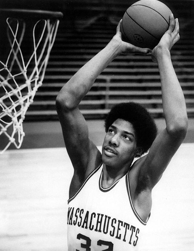 Julius Erving #32 of the University of Massachusetts Minuteman goes up for the slam dunk at the William D. Mullins Memorial Center in Amherst, Massachusetts circa 1969-71. (Photo by Massachusetts/Collegiate Images/Getty Images)