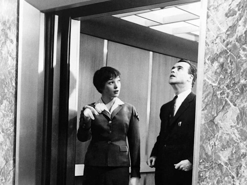 Shirley MacLaine and Jack Lemmon find love in an elevator in The Apartment (United Artists/Kobal/Rex)