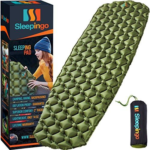 Sleepingo Camping Sleeping Pad - Mat, (Large), Ultralight 14.5 OZ, Best Sleeping Pads for Backpacking, Hiking Air Mattress - Lightweight, Inflatable & Compact, Camp Sleep Pad (Amazon / Amazon)