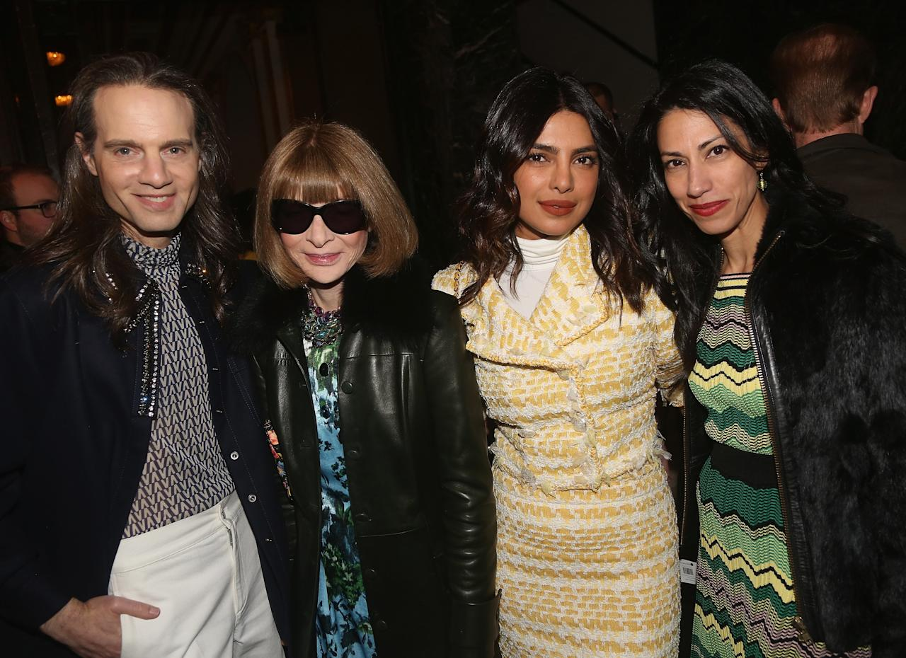 """Jordan Roth, Anna Wintour, Priyanka Chopra and Huma Abedin pose at the opening night of the play """"Burn This"""" on Broadway at The Hudson Theatre on April 15, 2019 in New York City."""