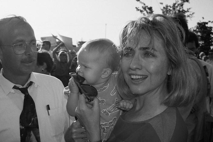 Campaigning at a rally in Athens, Texas. August 28, 1992.