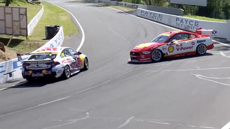 Shane van Gisbergen and Tim Slade, pictured here after colliding at Mount Panorama.