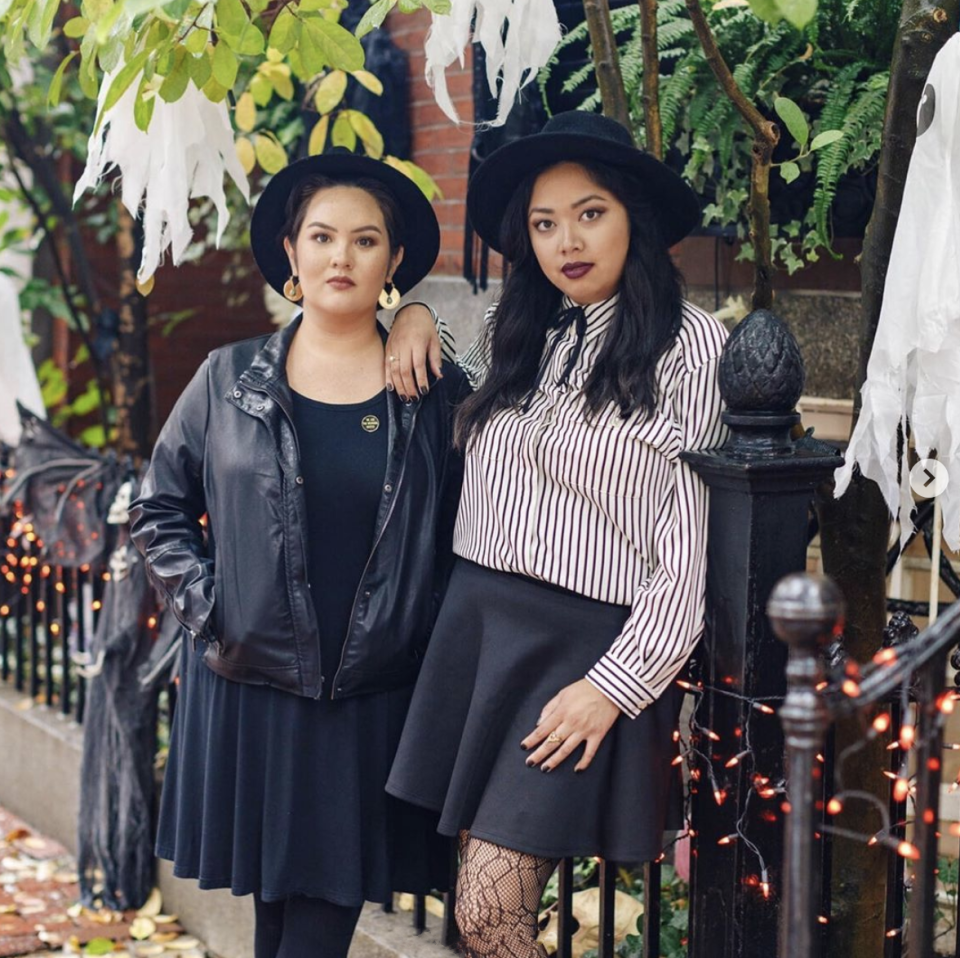 """<p>When you want to dress up, but have to spend the day at work, consider this DIY witch costume. It's simple: Just search your closet for some classic black staples—a black dress and a leather jacket, or a black-and-white striped shirt and a flared skirt. No matter which direction you go, don't skip the hat. </p><p><a class=""""link rapid-noclick-resp"""" href=""""https://www.amazon.com/Floerns-Womens-Stretch-Striped-T-Shirts/dp/B07L6FYFY3/?tag=syn-yahoo-20&ascsubtag=%5Bartid%7C10072.g.33534666%5Bsrc%7Cyahoo-us"""" rel=""""nofollow noopener"""" target=""""_blank"""" data-ylk=""""slk:SHOP BLACK AND WHITE SHIRT"""">SHOP BLACK AND WHITE SHIRT</a></p><p><a class=""""link rapid-noclick-resp"""" href=""""https://www.amazon.com/Womens-Versatile-Stretchy-Flared-Skater/dp/B00SGBMFK8?tag=syn-yahoo-20&ascsubtag=%5Bartid%7C10072.g.33534666%5Bsrc%7Cyahoo-us"""" rel=""""nofollow noopener"""" target=""""_blank"""" data-ylk=""""slk:SHOP SKIRT"""">SHOP SKIRT</a></p><p><a class=""""link rapid-noclick-resp"""" href=""""https://www.amazon.com/QIXING-Womens-Summer-Casual-Black-M/dp/B083SNP4HY?tag=syn-yahoo-20&ascsubtag=%5Bartid%7C10072.g.33534666%5Bsrc%7Cyahoo-us"""" rel=""""nofollow noopener"""" target=""""_blank"""" data-ylk=""""slk:SHOP DRESS"""">SHOP DRESS</a></p><p><a class=""""link rapid-noclick-resp"""" href=""""https://www.amazon.com/Tanming-Womens-Casual-Motorcycle-Leather/dp/B01CSC6MM2?tag=syn-yahoo-20&ascsubtag=%5Bartid%7C10072.g.33534666%5Bsrc%7Cyahoo-us"""" rel=""""nofollow noopener"""" target=""""_blank"""" data-ylk=""""slk:SHOP LEATHER JACKET"""">SHOP LEATHER JACKET</a></p><p><a class=""""link rapid-noclick-resp"""" href=""""https://www.amazon.com/Floppy-Fedora-Womens-Vintage-Outfits/dp/B074166RLC/?tag=syn-yahoo-20&ascsubtag=%5Bartid%7C10072.g.33534666%5Bsrc%7Cyahoo-us"""" rel=""""nofollow noopener"""" target=""""_blank"""" data-ylk=""""slk:SHOP HAT"""">SHOP HAT</a></p>"""