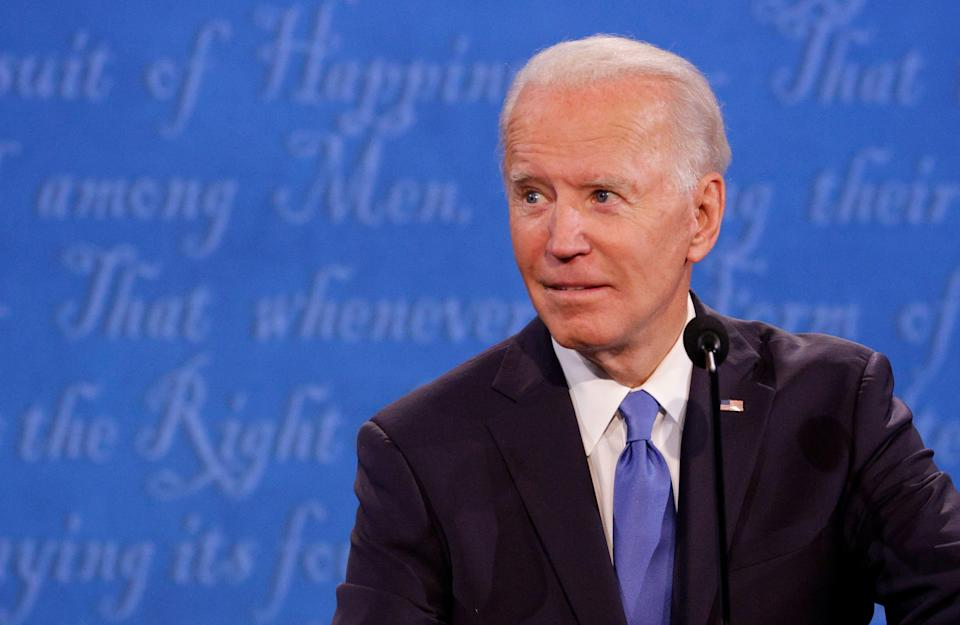 Democratic presidential nominee Joe Biden looks on during the final 2020 U.S. presidential campaign debate in the Curb Event Center at Belmont University in Nashville, Tennessee. (Jonathan Ernst / Reuters)