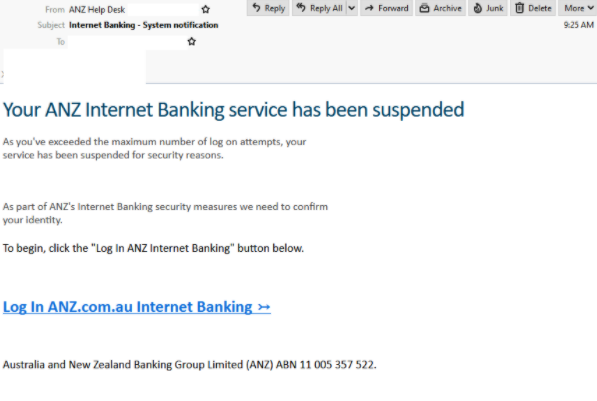 ANZ spoof email. Source: MailGuard