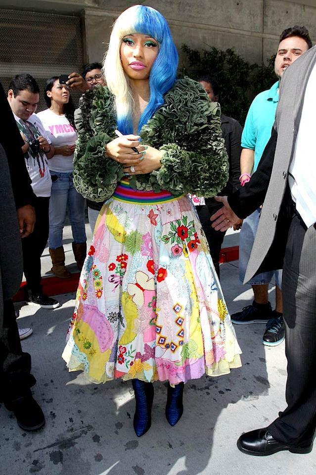 From head to toe, Nicki Minaj looked like a hot mess (minus the hot) upon exiting the American Music Awards press conference in downtown Los Angeles.   PacificCoastNews.com - October 11, 2011
