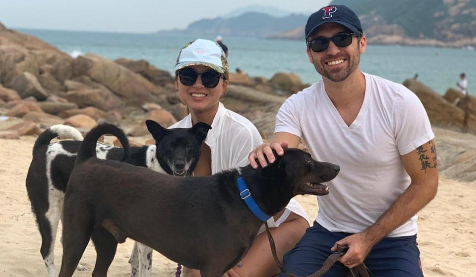 Joanne Lee and her husband Tom Honeycutt, with their two dogs Andre and Hailey. Photo: Handout