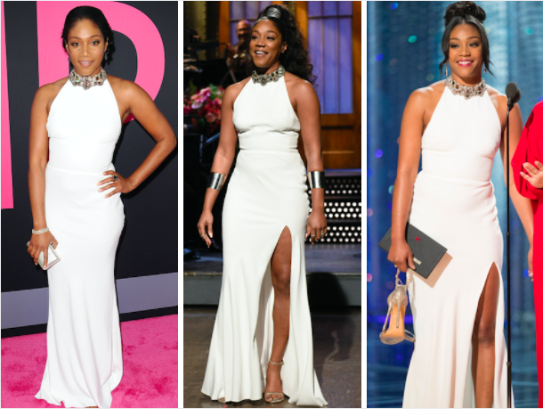 """Tiffany Haddish at the """"Girls Trip"""" in July 2017 (L), hosting """"Saturday Night Live"""" in Nov. 2017 (M) and at the Oscars in March 2018 (R). (Getty)"""