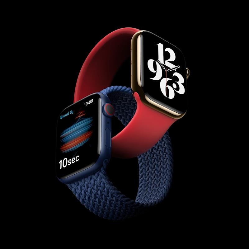 A handout video still image made available by Apple Inc. showing Apple Watch Series 6 featuring a Blood Oxygen sensor and app during an Apple Event at Apple Park in Cupertino, California, USA, 15 September 2020 - Apple
