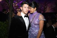 CANNES, FRANCE - MAY 17: Nick Jonas (L) and Priyanka Chopra attend the Chopard Love Night dinner on May 17, 2019 in Cannes, France. (Photo by Pascal Le Segretain/Getty Images for Chopard)