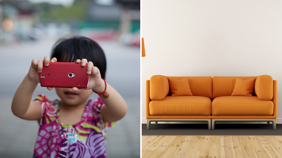 A toddler has accidentally bought a couch. Images: Getty