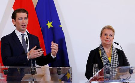 Austria's Chancellor Sebastian Kurz and Social Minister Beate Hartinger-Klein address the media in Vienna, Austria March 11, 2019.   REUTERS/Leonhard Foeger