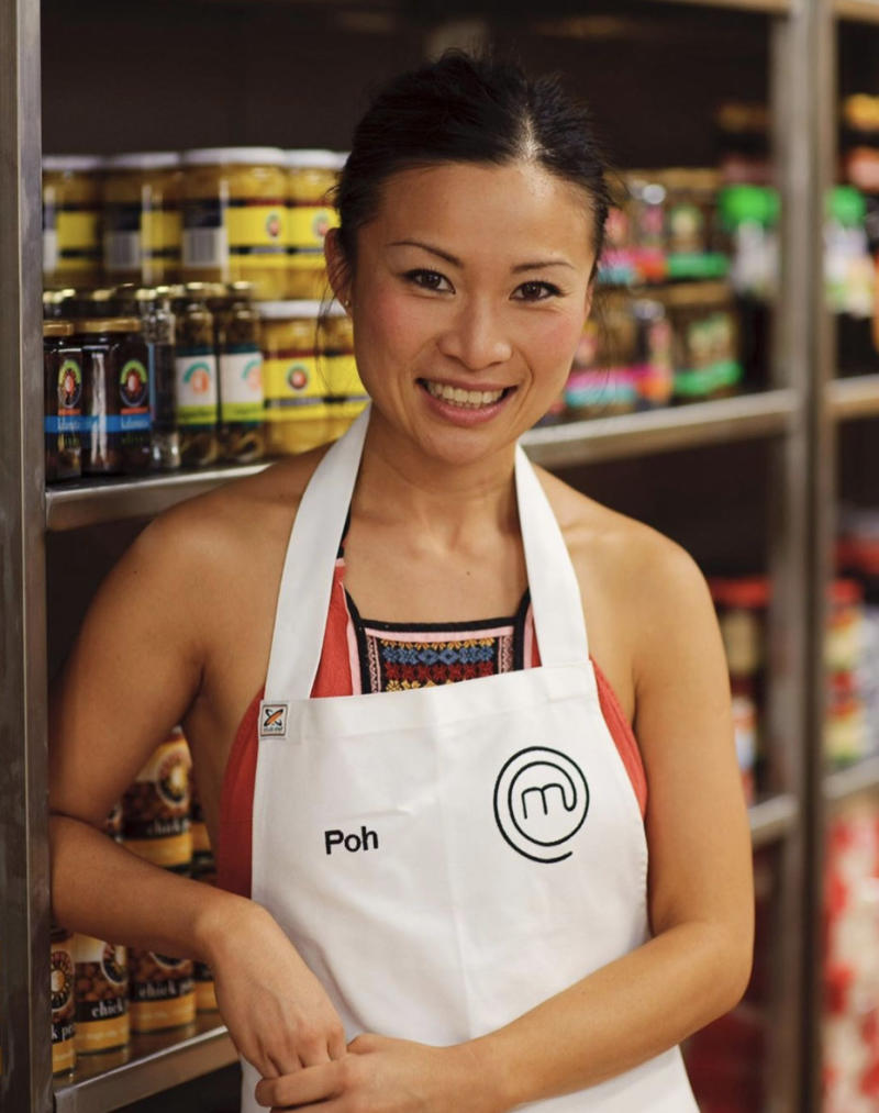 season one MasterChef Australia contestant Poh Ling Yeow pictured wearing an apron on set