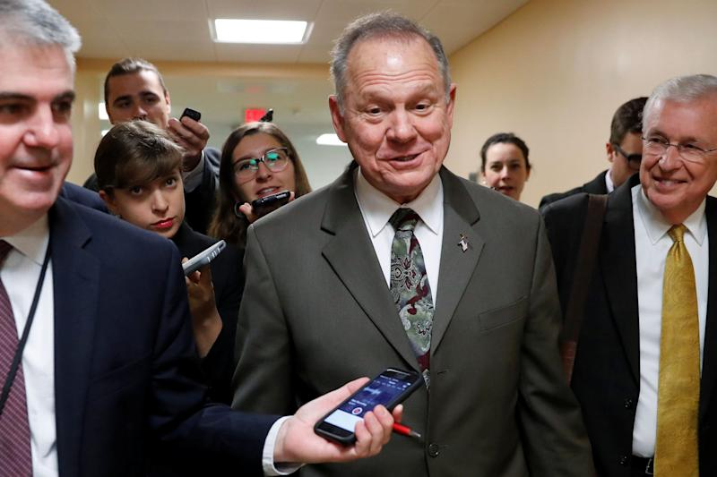 Alabama Republican candidate for U.S. Senate Roy Moore speaks with reporters as he visits the U.S. Capitol on Oct. 31.