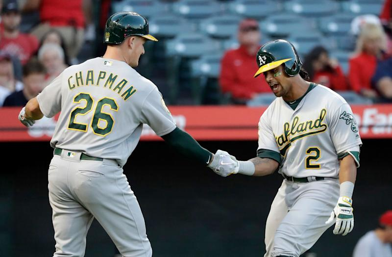The Oakland Athletics need Matt Chapman and Khris Davis to continue to lead the offense with questions on the pitching side. (AP Photo/Marcio Jose Sanchez)