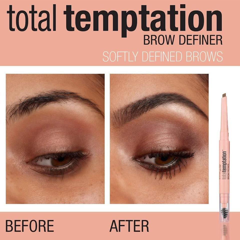 """It'san easy-to-use eyebrow filler for anyone who hasn't been able to get theirs done professionally for a while and wants a subtle but effective way to fill 'em in.The tool comes with two ends, one a small eyebrow brush and the other a specially-edged eyebrow pencil.<br /><br /><strong>Promising review:</strong>""""I was a little skeptical about this eyebrow filler, but am super satisfied with it.<strong>I typically get my eyebrows tinted when I get them threaded, but due to COVID haven't been able to and this works just as well.</strong>No smudging and looks natural. You also don't need to be a makeup professional for it to look good."""" —<a href=""""https://www.amazon.com/gp/customer-reviews/R3SSTQ66VHW97V?&linkCode=ll2&tag=huffpost-bfsyndication-20&linkId=bbcc6dfe09997c71c106104758791006&language=en_US&ref_=as_li_ss_tl"""" target=""""_blank"""" rel=""""noopener noreferrer"""">Amanda</a><br /><br /><strong>Get it from Amazon for <a href=""""https://www.amazon.com/dp/B074VGYK4X?&linkCode=ll1&tag=huffpost-bfsyndication-20&linkId=682e7e3f21745362c62c038a73c06732&language=en_US&ref_=as_li_ss_tl"""" target=""""_blank"""" rel=""""noopener noreferrer"""">$5.88</a> (available in four colors).</strong>"""