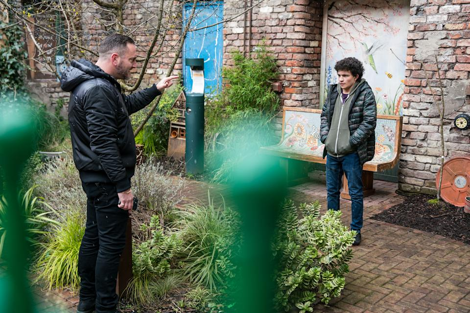 FROM ITV  STRICT EMBARGO - No Use Before  Tuesday 2nd March 2021  Coronation Street - Ep 10271  Friday 12th March 2021 - 1st Ep  Harvey [WILL MELLOR] approaches Simon Barlow [ALEX BAIN] and reveals he knows Jacob's ripping him off and wonders if he knew anything about it. Simon's terrified.  Picture contact David.crook@itv.com   Photographer - Danielle Baguley  This photograph is (C) ITV Plc and can only be reproduced for editorial purposes directly in connection with the programme or event mentioned above, or ITV plc. Once made available by ITV plc Picture Desk, this photograph can be reproduced once only up until the transmission [TX] date and no reproduction fee will be charged. Any subsequent usage may incur a fee. This photograph must not be manipulated [excluding basic cropping] in a manner which alters the visual appearance of the person photographed deemed detrimental or inappropriate by ITV plc Picture Desk. This photograph must not be syndicated to any other company, publication or website, or permanently archived, without the express written permission of ITV Picture Desk. Full Terms and conditions are available on  www.itv.com/presscentre/itvpictures/terms