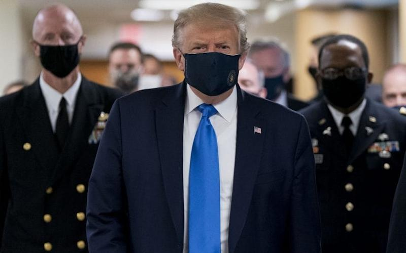 Donald Trump at the Walter Reed National Military Medical Centre. CREDIT: BLOOMBERG - BLOOMBERG