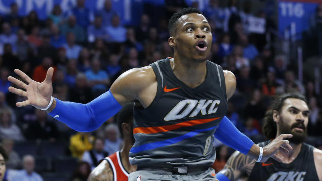 "<a class=""link rapid-noclick-resp"" href=""/nba/players/4390/"" data-ylk=""slk:Russell Westbrook"">Russell Westbrook</a>, right after hearing that he got picked last. (AP)"
