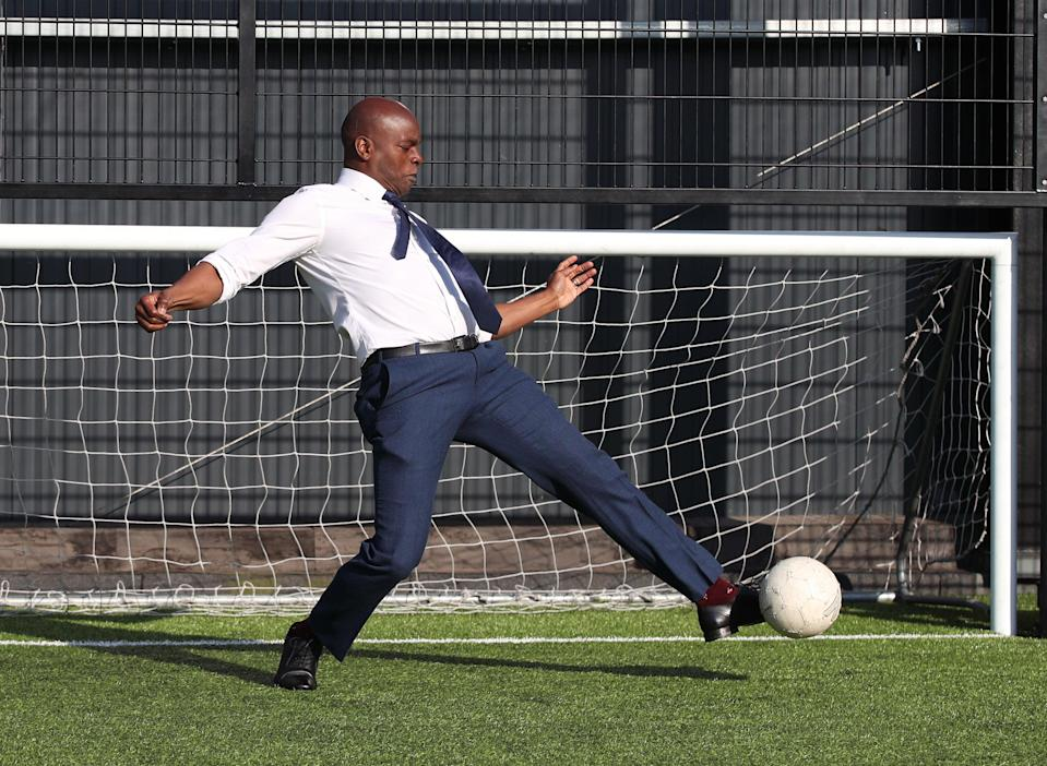 Saving face: Shaun Bailey saves a goal during a kick-about at his manifesto launch in EdgwarePA