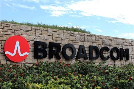 A sign to the campus offices of chip maker Broadcom Ltd, is shown in Irvine, California, U.S., November 6, 2017.     REUTERS/Mike Blake