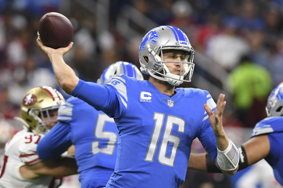 Detroit Lions quarterback Jared Goff (16) throws against the San Francisco 49ers in the second half of an NFL football game in Detroit, Sunday, Sept. 12, 2021. (AP Photo/Lon Horwedel)