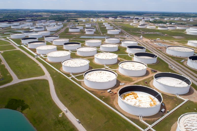 FILE PHOTO: Crude oil storage tanks are seen in an aerial photograph at the Cushing oil hub in Oklahoma