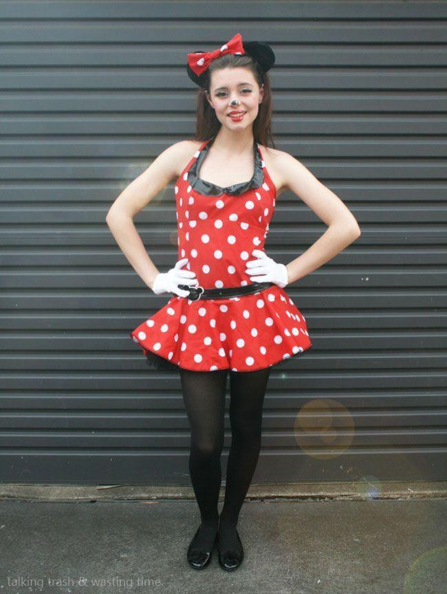 """<p>A pretty red polka dot dress and mouse ears are easy enough, and the <a href=""""https://www.countryliving.com/life/g21087337/halloween-face-paint-ideas/"""" rel=""""nofollow noopener"""" target=""""_blank"""" data-ylk=""""slk:cute makeup"""" class=""""link rapid-noclick-resp"""">cute makeup</a> looks just like the cartoon.</p><p><strong>Get the tutorial at <a href=""""http://www.nowthatspeachy.com/2013/01/minnie-mouse-cartoon-make-up-how-to.html"""" rel=""""nofollow noopener"""" target=""""_blank"""" data-ylk=""""slk:Now That's Peachy"""" class=""""link rapid-noclick-resp"""">Now That's Peachy</a>.</strong><br></p><p><strong><a class=""""link rapid-noclick-resp"""" href=""""https://www.amazon.com/dp/B0147ALBGU/ref=redir_mobile_desktop?tag=syn-yahoo-20&ascsubtag=%5Bartid%7C10050.g.21603260%5Bsrc%7Cyahoo-us"""" rel=""""nofollow noopener"""" target=""""_blank"""" data-ylk=""""slk:SHOP POLKA DOT DRESS"""">SHOP POLKA DOT DRESS</a></strong></p>"""