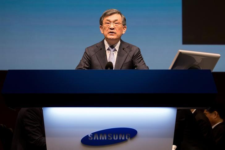Kwon Oh-Hyun, co-chief executive officer of Samsung Electronics Co., speaks during the company's annual general meeting at the Seocho office building in Seoul, South Korea