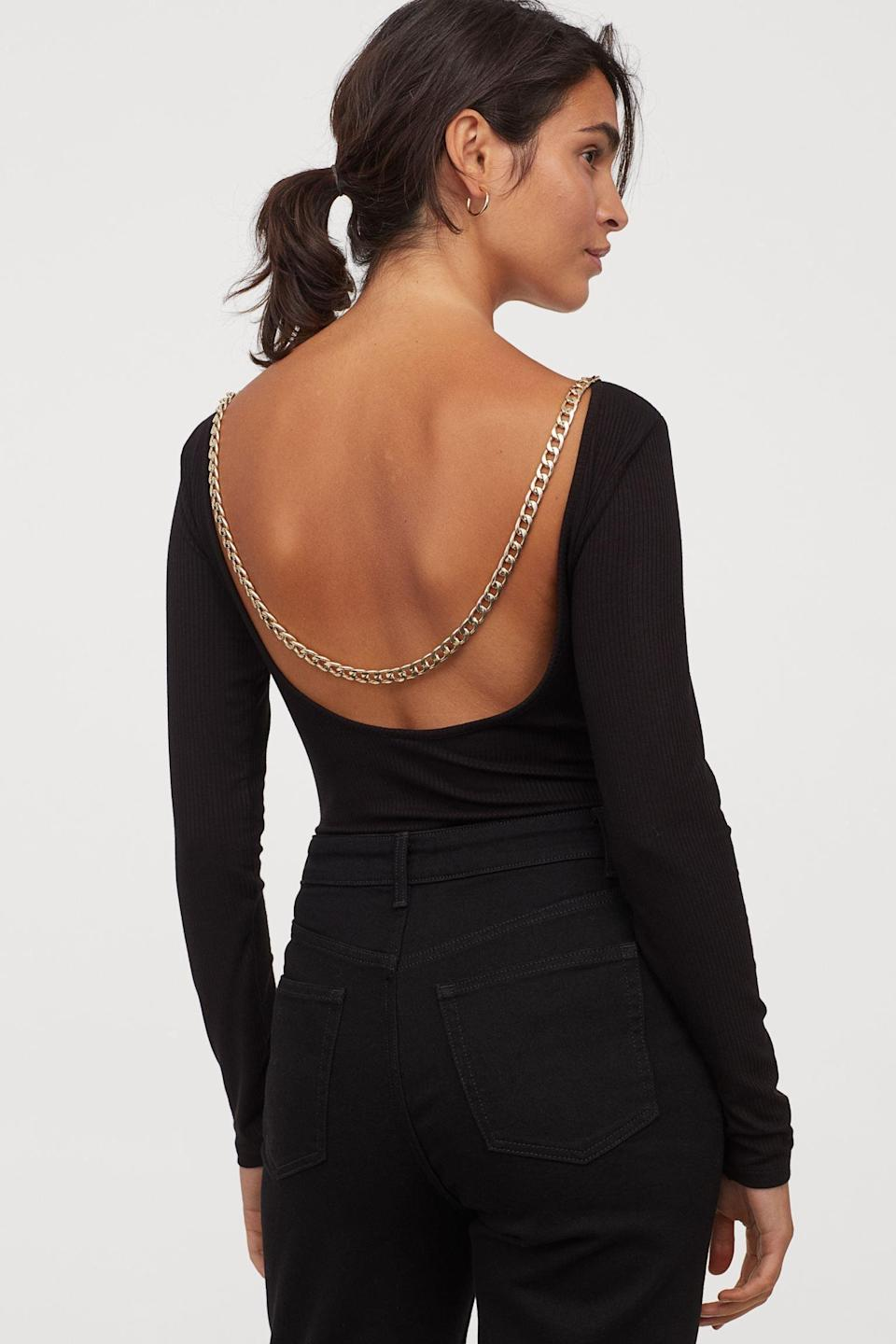 <p>It's all about the back of this <span>Ribbed Chain-Detail Bodysuit</span> ($21, originally $25).</p>
