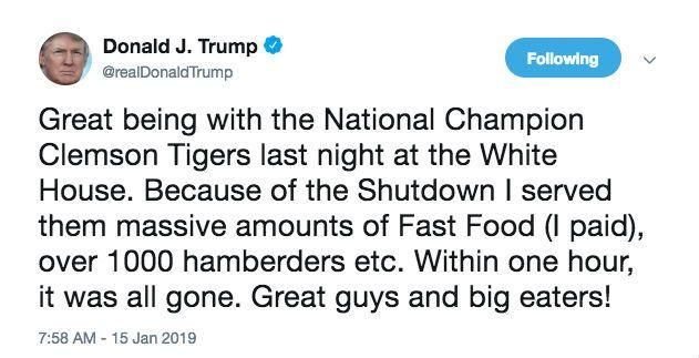 """In a now deleted tweet from President Trump's account on January 15, the president mentioned he ordered 1000 """"hamberders."""""""