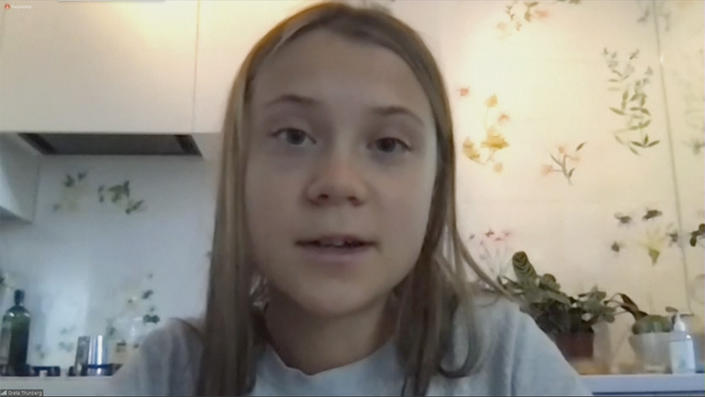 Climate activist Greta Thunberg speaks during a virtual news conference Monday. (via Reuters Video)
